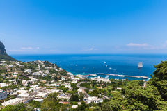 Mediterranean Sea. Panorama view of Mediterranean Sea on Capri island, Italy Stock Photo
