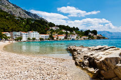 Mediterranean Sea and Pebble Beach in Croatia Stock Image
