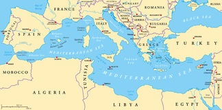 Free Mediterranean Sea Region Political Map Royalty Free Stock Images - 53897289