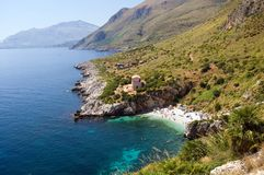 Mediterranean sea Riserva dello. Panorama of the Riserva dello Zingaro, Mediterranean Sea, wonderful Sicily, Italy Royalty Free Stock Images