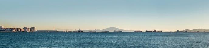 Mediterranean sea and roadstead in Gibraltar Stock Photos