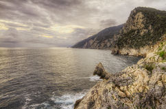 Mediterranean sea and rocky coastline. Stock Images
