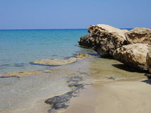 Mediterranean Sea. Sandy beach and beautiful blue Mediterranean sea, Cyprus Stock Photo