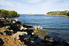 Mediterranean sea and shores. View from Capelan, in Bandol of the Mediterranean sea and french riviera shores Royalty Free Stock Photography