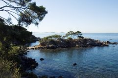 Mediterranean sea and shores, Embiez islands. View of Capelan peninsula, and Embiez islands in Bandol. Mediterraneen sea and french riviera shores Stock Image