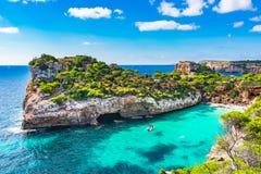 Mediterranean Sea Spain Majorca beach bay Cala Moro Stock Image
