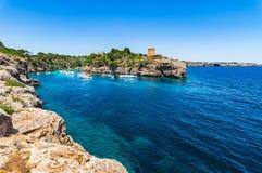 Mediterranean Sea Spain Majorca Cala Pi. Island scenery, Mallorca Spain beautiful bay coast of Cala Pi, Mediterranean Sea, Balearic Islands Royalty Free Stock Photo