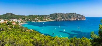 Mediterranean Sea Spain Majorca Coast of Camp de Mar. Panorama scenery of the bay in Camp de Mar, beautiful coast on Mallorca Spain, Mediterranean Sea, Balearic Stock Photo