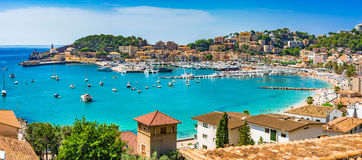 Mediterranean Sea Spain Majorca Port de Soller. Beautiful panorama view of Port de Soller, Majorca Spain, Mediterranean Sea, Balearic Islands Stock Photo