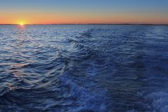 Mediterranean sea sunset horizon orange sun Royalty Free Stock Photos