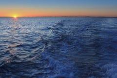Mediterranean sea sunset horizon orange sun Royalty Free Stock Photos