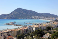Mediterranean Sea and town of Altea Spain. Yacht Marina and Mediterranean Sea by the coastal town of Altea on the Costa Blanca southern Spain Royalty Free Stock Image