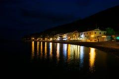Mediterranean sea town at night Royalty Free Stock Images