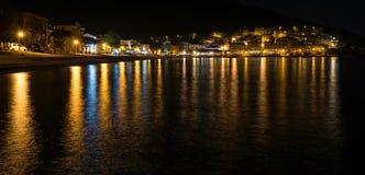 Mediterranean sea town at night Stock Images