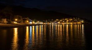 Mediterranean sea town at night Stock Photography