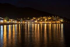 Mediterranean sea town at night Royalty Free Stock Image