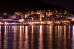 Mediterranean sea town at night Royalty Free Stock Photos