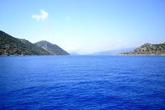 Mediterranean Sea in Turkey. Walk on a yacht on the Mediterranean Sea in Turkey. Photo taken on:  May 27 Tuesday, 2014 Stock Photo