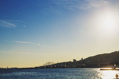 Mediterranean sea view from Cannes with sunset sun flare Royalty Free Stock Image