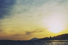 Mediterranean sea view from Cannes with sunset sun flare Stock Images