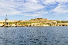 Mediterranean view of Fort Ricasoli, Kalkara Malta. Mediterranean Sea view of the dilapidated Fort Ricasoli, Kalkara Malta Royalty Free Stock Photos