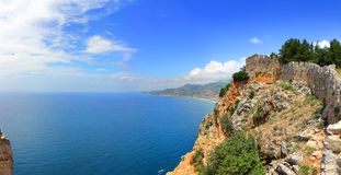 Mediterranean sea - view from fortress Alanya Stock Image