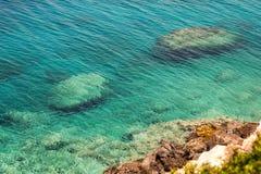 Mediterranean Sea view, island in Greece stock photos