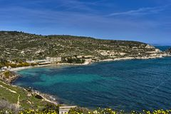 Mediterranean sea view on a sunny day. Landscape mediterranean view, blue sky and turquoise sea Stock Photography