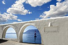 Mediterranean sea view white archs architecture Royalty Free Stock Photo