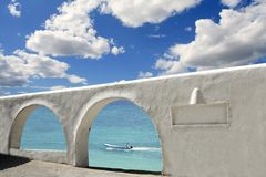 Mediterranean sea view white archs architecture Royalty Free Stock Image