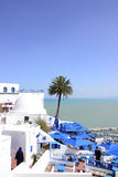 Mediterranean Sea and White and Blue Café Terrace - Sidi Bou Said Royalty Free Stock Photo