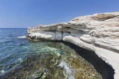 Mediterranean sea. White rocks near Governor`s beach Stock Photography