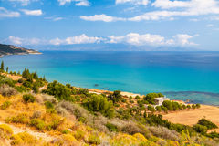 Mediterranean sea and Zakynthos royalty free stock images