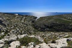 Mediterranean seacoast Malta, Blue Grotto bay Stock Image