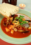 Mediterranean Seafood Soup Royalty Free Stock Images