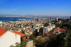 Mediterranean seaport of Haifa Israel with Shrine of Bab Royalty Free Stock Photography