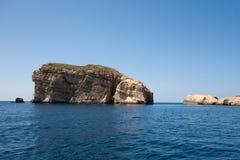 Mediterranean seascape. Beautiful mediterranean seascape with a rock, island Gozo, Malta Royalty Free Stock Photos
