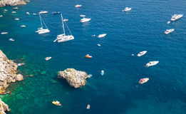 Mediterranean seascape, bird eye view. Pleasure yachts Royalty Free Stock Photography