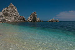 Mediterranean seascape of Le Due Sorelle, famous beach of Conero Royalty Free Stock Photos
