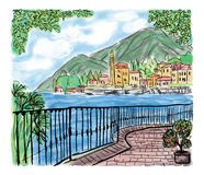 Mediterranean seascape painting royalty free illustration