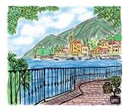 Mediterranean seascape painting Royalty Free Stock Photos