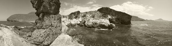 Mediterranean seascape panoramic view in Almeria. Spain Royalty Free Stock Images