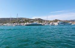 Mediterranean seascape. PORT ANDRATX, MALLORCA, SPAIN - AUGUST 5, 2016: Mediterranean seascape with azure ocean water, horizon and rocky coast outside Sant Elm Royalty Free Stock Photos