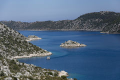 Mediterranean seascape with wiew over Kalekoy Simena bay in Ucha Stock Photos