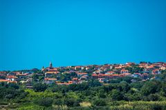Settlement on Hill at the Coast of Istria in Croatia. Mediterranean Settlement on Hill at the Coast of Istria in Croatia stock photography