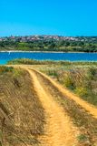 Settlement on Hill at the Coast of Istria in Croatia. Mediterranean Settlement on Hill at the Coast of Istria in Croatia stock photo