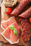 Mediterranean snack chorizo parma tomatoes Stock Photography