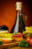 Mediterranean snacks and olive oil Stock Image