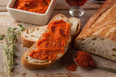 Mediterranean spicy meat spread with paprika. Royalty Free Stock Photos
