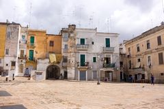 Mediterranean square with ancient buildings with television antennas. Italian traditional architecture. Bari town landmark. stock image
